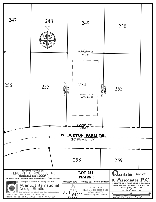 Arlington Place Homesite 254 property plat map image.