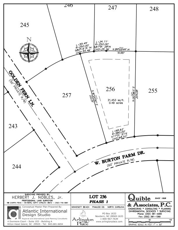 Arlington Place Homesite 256 property plat map image.