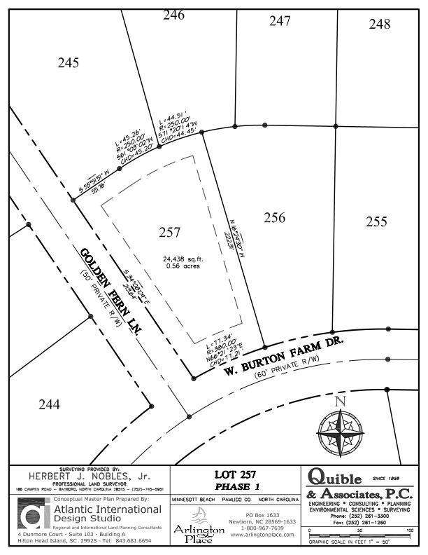Arlington Place Homesite 257 property plat map image.