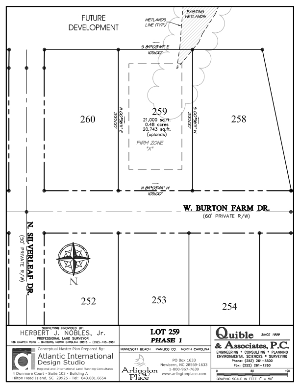Arlington Place Homesite 259 property plat map image.
