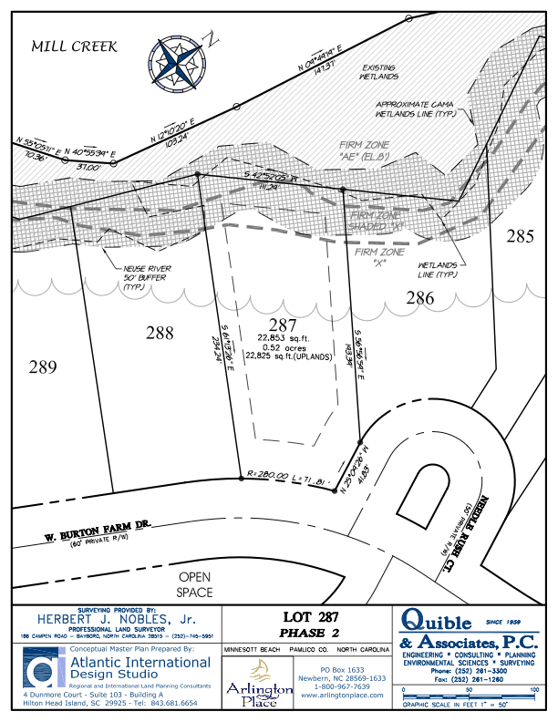 Arlington Place Homesite 287 property plat map image.