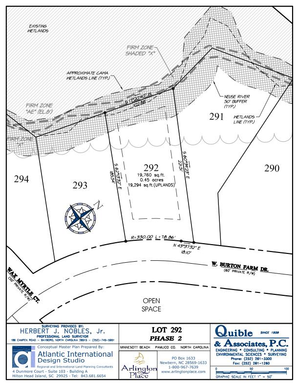 Arlington Place Homesite 292 property plat map image.