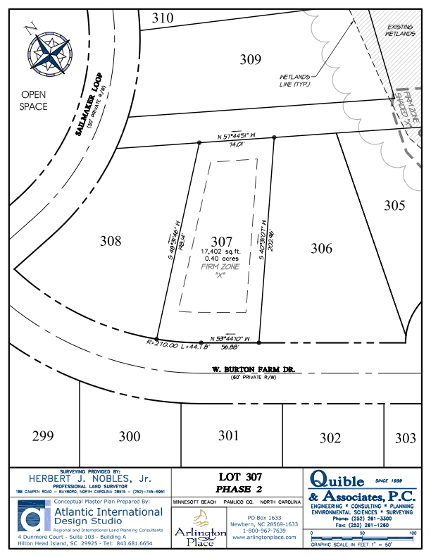 Arlington Place Homesite 307 property plat map image.