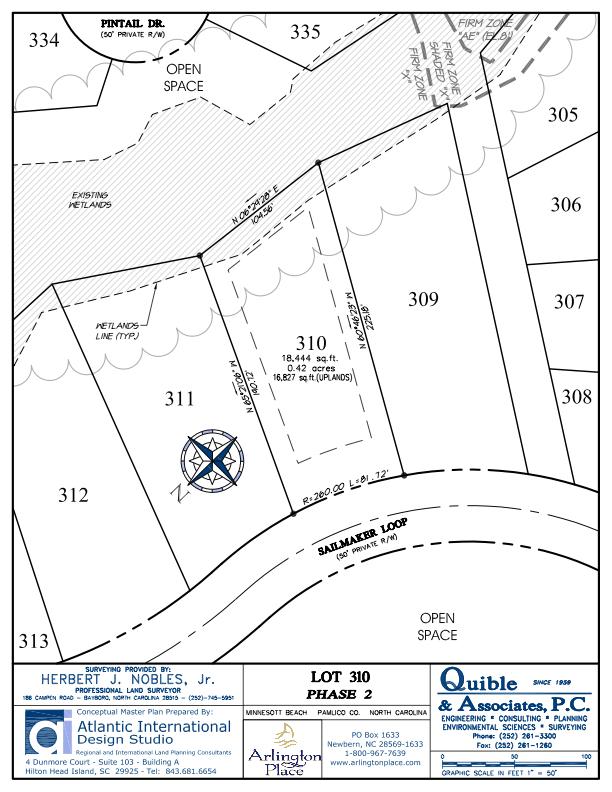 Arlington Place Homesite 310 property plat map image.
