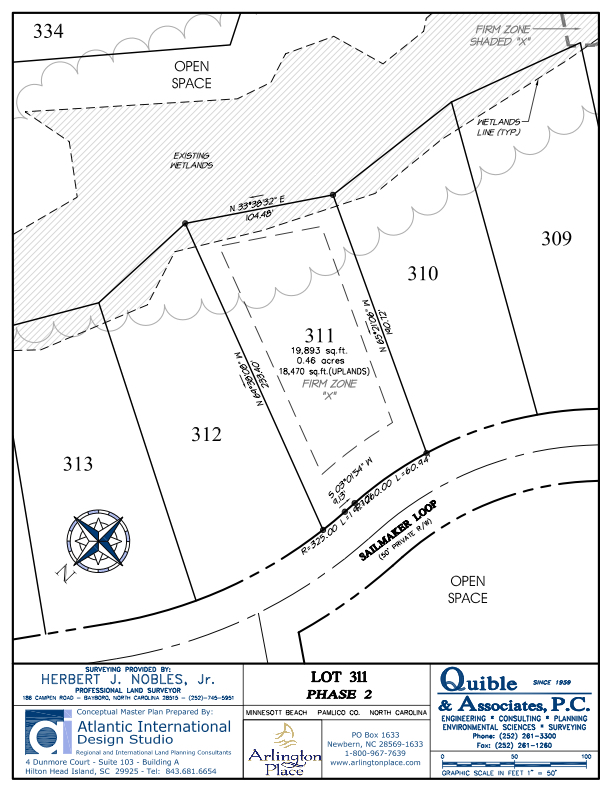 Arlington Place Homesite 311 property plat map image.
