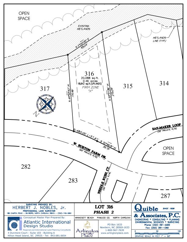 Arlington Place Homesite 316 property plat map image.