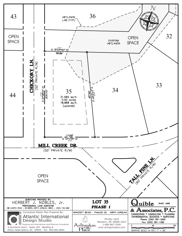 Arlington Place Homesite 35 property plat map image.