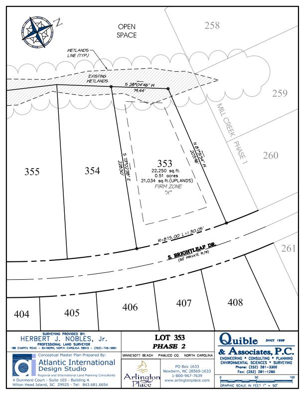 Arlington Place Homesite 353 property plat map image.