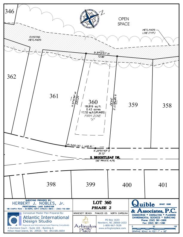 Arlington Place Homesite 360 property plat map image.