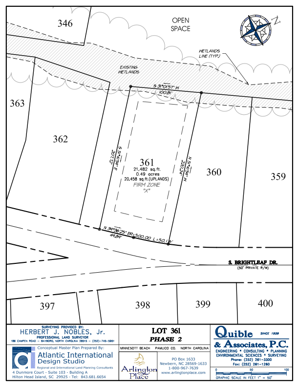 Arlington Place Homesite 361 property plat map image.