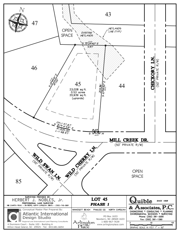 Arlington Place Homesite 45 property plat map image.