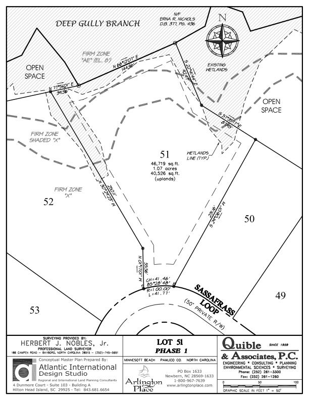 Arlington Place Homesite 51 property plat map image.