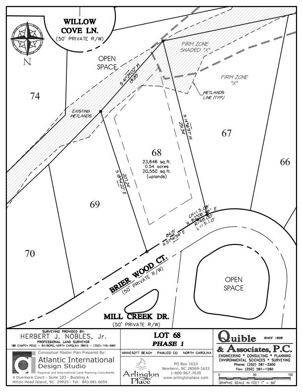 Arlington Place Homesite 68 property plat map image.
