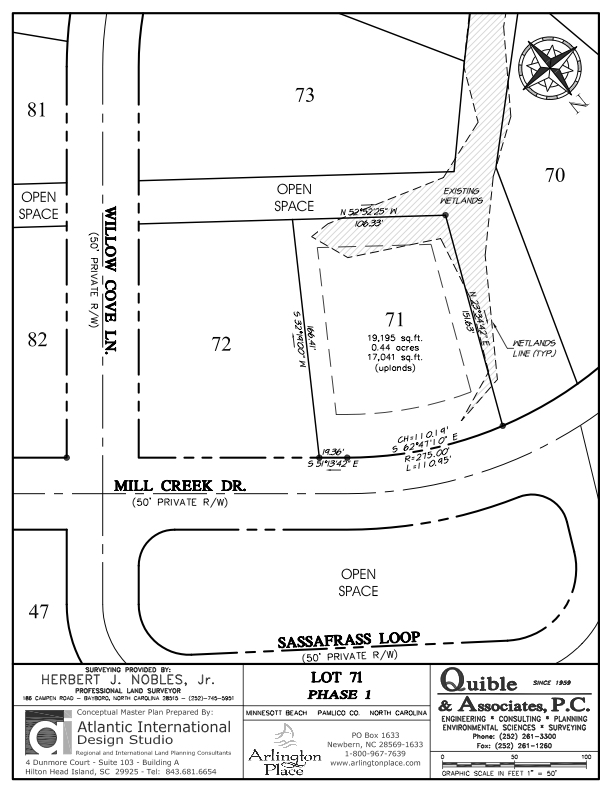 Arlington Place Homesite 71 property plat map image.