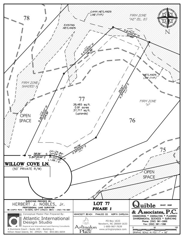 Arlington Place Homesite 77 property plat map image.