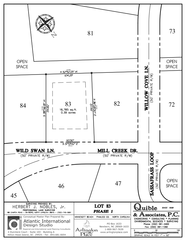 Arlington Place Homesite 83 property plat map image.