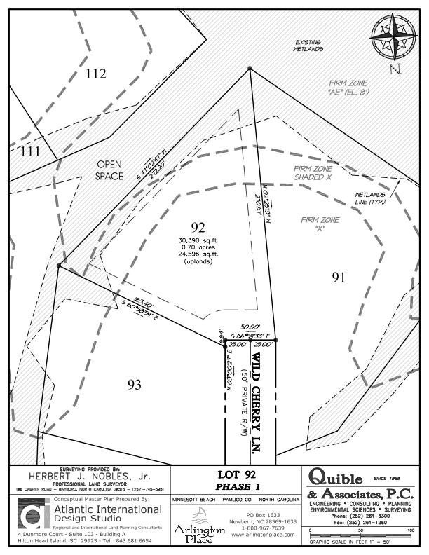 Arlington Place Homesite 92 property plat map image.