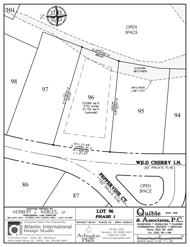 Arlington Place Homesite 96 property plat map image.