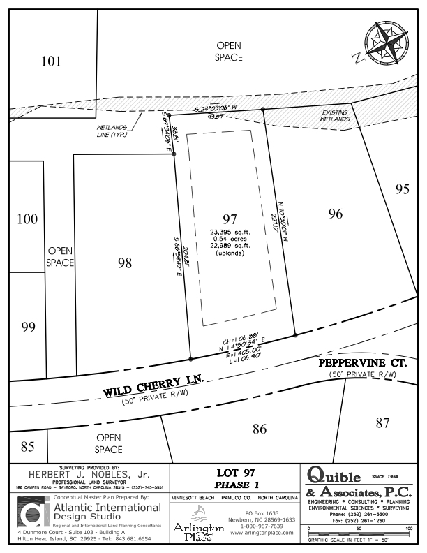 Arlington Place Homesite 97 property plat map image.